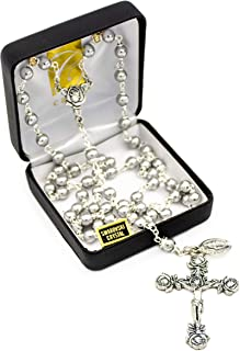 """Catholic Silver Swarovski Pearl Rosary Necklace with Rose Detailed 2""""L Crucifix Pendant (Italian Made)"""