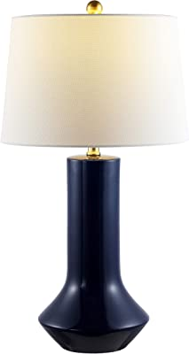 Safavieh Lighting Collection Wells Navy Blue Ceramic 28-inch Bedroom Living Room Home Office Desk Nightstand Table Lamp (LED Bulb Included)