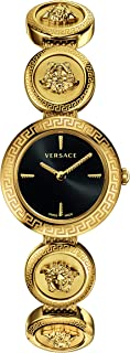 VERF00618 Medusa Stud Icon Ladies Black Dial Gold-Tone Stainless Steel Watch