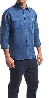 XL XXL Camicia in Puro Lino S M XXXXL Doppio Taschino in 8 Colori Bianco, Celeste, Blu Medio, Blu Scuro, Beige, Senape, Rosso Mattone, Verde Militare L XXXL