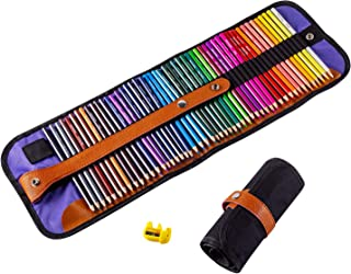 ARZASGO 50 Colored Pencils Set, Artist Coloring Pencils for Adult Coloring Books, Artist Sketch, Premier Drawing Pencils with Canvas Roll-up Pouch Bag and Pencil Sharpener