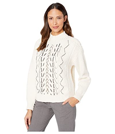 Vince Camuto Chain Trim Cable Stitch Mock Neck Sweater (Antique White) Women