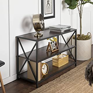 WE Furniture 2 Shelf Industrial Wood Metal Bookcase Bookshelf Storage, Dark Walnut