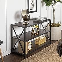 WE Furniture AZS40XMWDW 2 Shelf Industrial Wood Metal Bookcase Bookshelf Storage, Dark Walnut