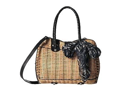 Patricia Nash Wicker Lucena Frame Satchel (Natural/Black Trim/Sunflower Scarf) Satchel Handbags