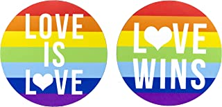 2-Pack Magnets for Gay Pride. for car Bumpers, refrigerators, fridges. Use for Lesbian Marriages, as an Ally Gift, or to Show Your Equality Rights. Large 5 inch Rainbow Flag, Magnetic Stickers.
