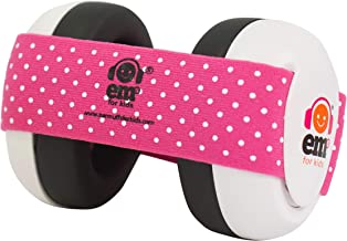Ems for Kids Baby Ear Defenders - White with Pink/White. The Original Baby Earmuffs, Now Made in The USA! Great for Concer...