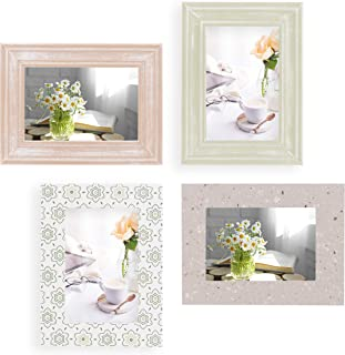 4x6 Picture Frames Set of 4 Wall Decor - Wooden, Turquoise, White & Gray - Table Top & Wall Mount Photo Frame Sets For Off...