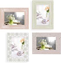 5x7 Picture Frames Set of 4 Wall Decor - Wooden, Turquoise, White & Gray - Table Top & Wall Mount Photo Frame Sets For Off...