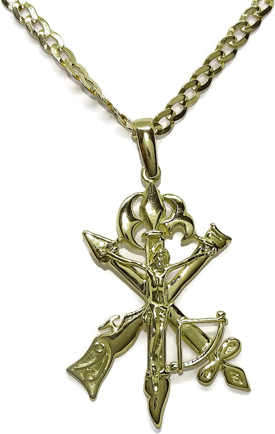 Same day shipping Legion Corps Cross Necklace 18K Gold Latest item Yellow Never I say