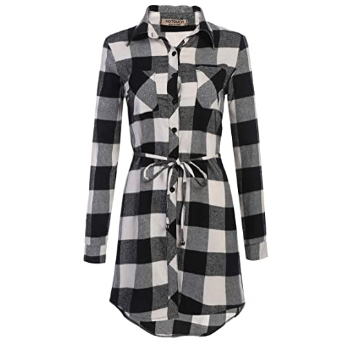 62805c7979dbe Hotouch Women's Roll Up Sleeve Slim Plaid Shirts Button Down Belted Shirt  Dresses