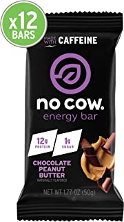 No Cow Chocolate Peanut Butter Energy bar, 12Count