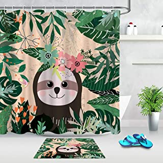 vrupi Tropical Green Leaf and Lazy Bear Pattern Fabric Shower Curtain Set Bathroom 71 * 71 inch Shower Curtain +1.57 * 23....