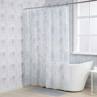 LETTON PEVA 5G Shower Curtain Liner Waterproof with 12 Metal Hooks 72x72 Inches - Foliage