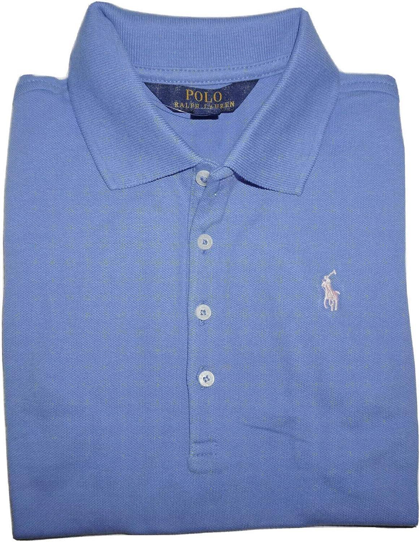 Ralph Lauren Polo Girls Shirt Kids Short Sleeve Mesh Top Size 12-14, Large Blue