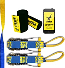 Gibbon Slacklines Flowline with treewear, Yellow/Blue, 82ft (74 ft line + 8ft Ratchet Strap with Reinforced Loop) 1