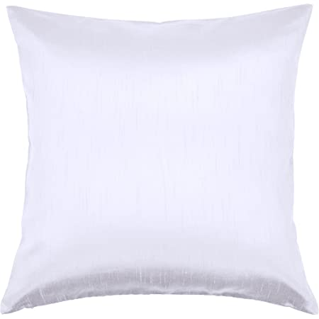 Aiking Home Solid Faux Silk Euro Sham Pillow Cover Zipper Closure 26 By 26 Inches Pure White Home Kitchen