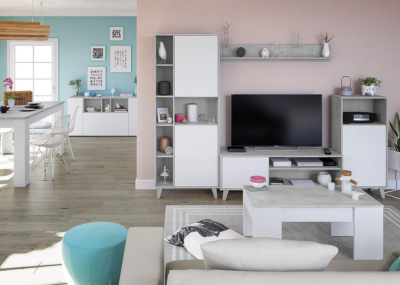 Pack Muebles para salón Comedor Completo Color Blanco y Cemento (Mesa TV + 2 estanterías + 1 Estante)