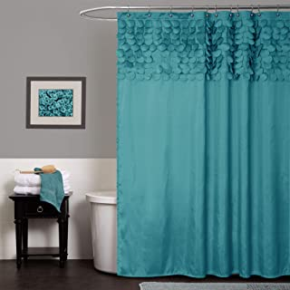 "Lush Decor Lillian Shower Curtain | Textured Shimmer Circle Design Bathroom, 72"" x 72"", Turquoise"