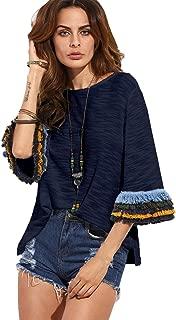 Women's 3/4 Sleeve Side Split T-Shirt Blouse Tunic Tops