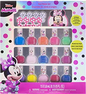 Townley Girl Disney Minnie Mouse Non-Toxic Peel-Off Nail Polish Set for Girls, Glittery and Opaque Colors, Ages 3+ - 15 Pcs