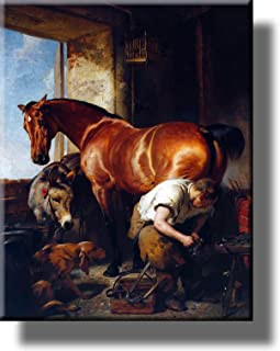 Blacksmith Shoeing Horse, Horseshoer Picture on Acrylic, Wall Art Décor, Ready to Hang!