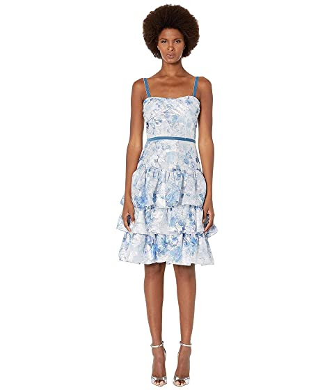 fc134c59 Marchesa Notte Sleeveless Metallic Printed Tiered Coctail Dress at ...