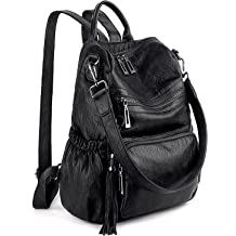 dbf24a2c5a29 UTO Women Backpack Purse PU Washed Leather Convertible Ladies Rucksack  Tassel .
