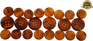 Set of 22 Premium Light Chestnut Brown with Tan Buffalo Horn Buttons for Sport Coats, Blazers, and Suit Jackets
