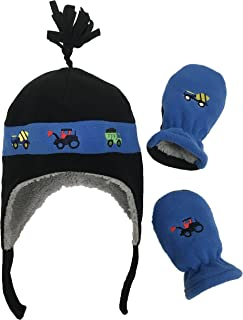 Little Boys and Baby Sherpa Lined Fleece Hat Mitten Embroidery Set