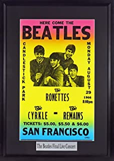 The Beatles @ Candlestick Park Concert Poster (w/Floating Plate)