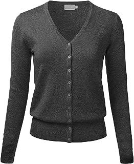 FLORIA Women's Button Down V-Neck Long Sleeve Soft Knit Cardigan Sweater (S-3XL)