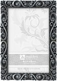 Malden International Designs Morgan Pewter Metal Picture Frame, 4x6, Silver