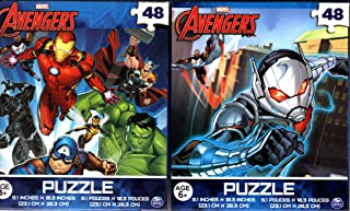 Bundle Set of 2 AVENGERS Jigsaw Puzzles (48 Pieces each) Featuring Marvel Superheroes Black Panther, Iron Man, Hulk, Captain America, Thor, Ant-Man, Wasp and Falcon - Super Hero