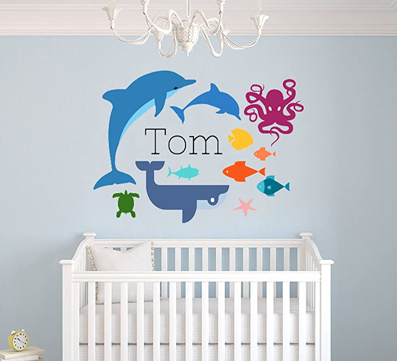 Custom Name Sea Animals Theme Octopus Whale Dolphin Fish And Turtle Baby Boy Girl Wall Decal Nursery For Home Bedroom Children 28 Wide X 20 Height