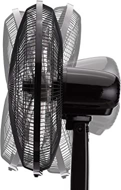Amazon Basics Oscillating Dual Blade Standing Pedestal Fan with Remote - 16-Inch