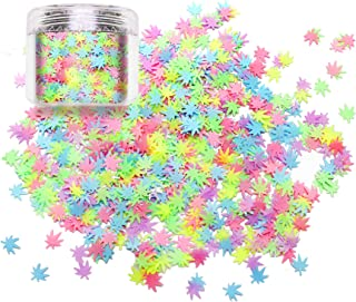 Laza Leaves Chunky Glitter Flakes Nail Art Sequin Pot Weed Leaf Shine Shaped Colorful Iridescent Sparkle for DIY Craft Decoration Festival Party - Colorful Leaf