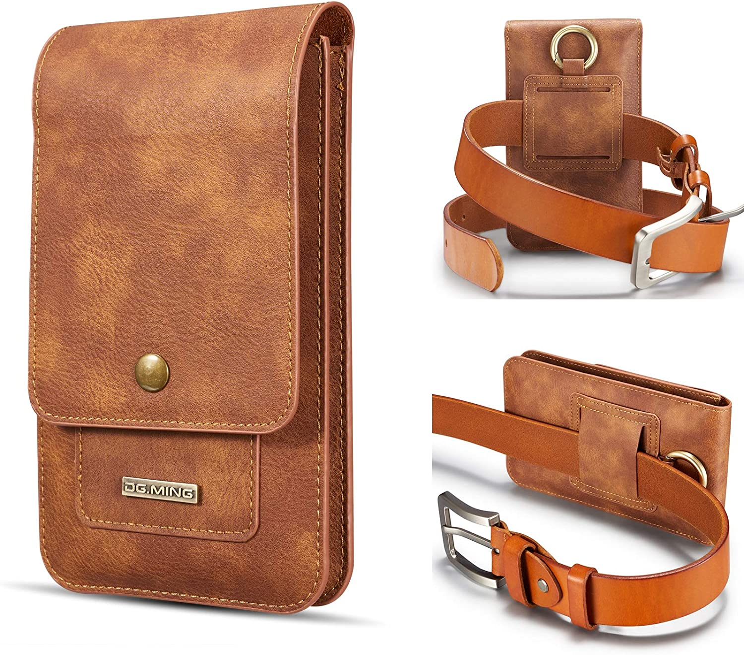 Real Cowhide Leather Cell Phone Holster For Samsung Galaxy S20 FE 5G,S20+ 5G,Note10 Lite,Note20,Note20 Ultra 5G,S21 Ultra 5G,S21+ 5G, Mens Waist Pack Belt Pouch Case, 2 Phone Pocktes ( Color : Brown )