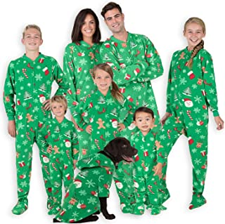 Family Matching Green Christmas Onesies for Boys, Girls, Men, Women and Pets