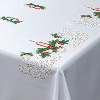 Mantel de Navidad rectangular, diseño de velas