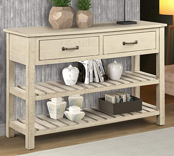 Rhomtree Sofa Table Entertainment Console Table With Drawers And Shelves Country Style Living Room Entryway Hallway Furniture Antique Grey