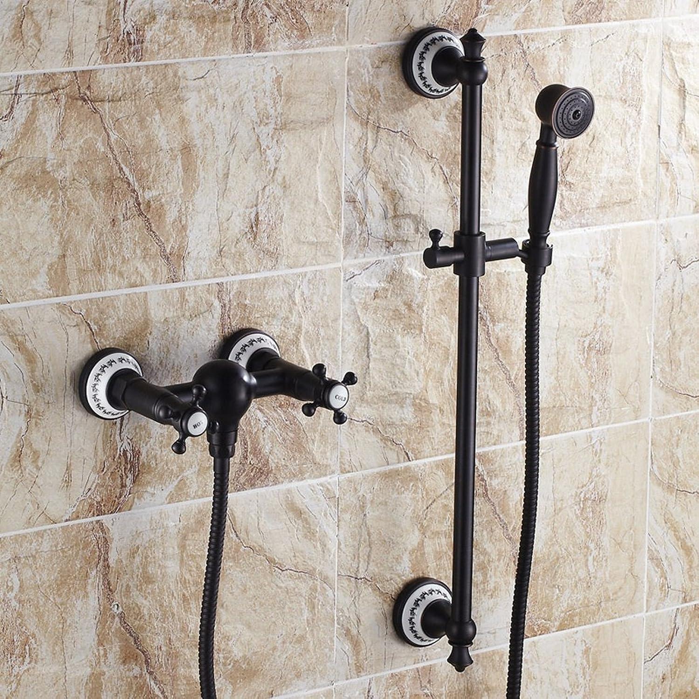 The harvest season- Komplette kupferne Dusche mit Dusche-Set European Style Badewanne-Hahn Wand-Dusch-Set, kann aufheben und unten (schwarz) (Farbe    A)