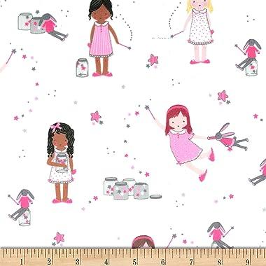 Michael Miller Minky Twinkle Twinkle Little Stars Fabric, Sparkle, Fabric By The Yard