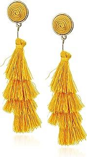 Women's Stacked Tassel Post Drop Earrings, Golden Yellow, One Size