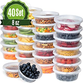 Safeware 8oz [40 Sets] Deli Plastic Food Storage Containers with Airtight Lids - Great for Slime, Soup, Portion Control and Meal Prep | Microwave | Dishwasher | Freezer Safe | Leakproof | Stackable