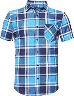 NUTEXROL Mens Western Slim Fit Cotton Short Sleeve Plaid Flannel Shirt