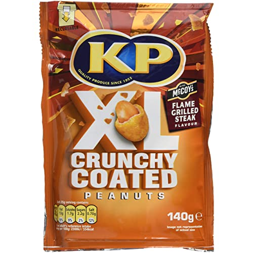 KP Flame Grilled Steak Crunchy Coated Peanuts, 140 g, Pack of 12