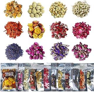 مجموعة زهور مجففة، 12 عبوة من زهور طبيعية مجففة لمجوهرات الراتينج وصناعة الصابون وكرات استحمام فوارة وصناعة الشمع، تتضمن ب...