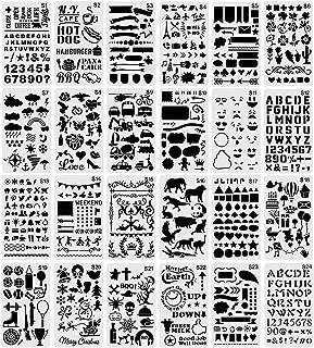 24 Pcs pochoirs de peinture réutilisables en Plastic, Pochoir à Lettres, Pochoir à Dessin, Pochoir Alphabet, Dessin Access...