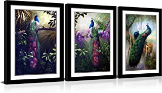HLJ ART Modern Animals Wall Decor Painting Prints on Canvas for Home and Office Decoration (Peacock-A, 16x24inchx3pcs Black Frames)